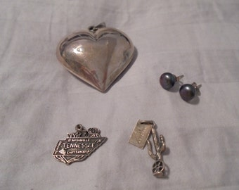 Four Pieces Sterling Silver Destash Jewelry