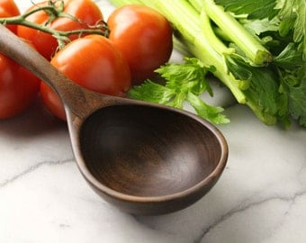 Wooden spoon ladle for serving stew and Chili of Walnut wood