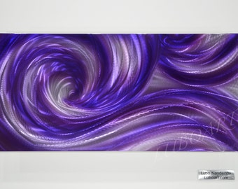 "painting art modern contemporary 24"" wall decor purple Ocean wave abstract METAL home office sculpture hand made Original gift Lubo Naydenov"