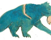 """CopperCutts Bear with Fish 4.5"""" x 9"""" Wall Plaque"""