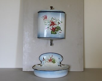 French Antique Fountain Lavabo Water Faucet  Enamel Blue and White Enamel Shabby Chic Flowers