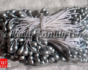 Bundle of Pearl Stamen, silver color. Jewelry Making supplies Crochet flower supplies Double Side Pearl approx. 144 pieces in a bundle. D