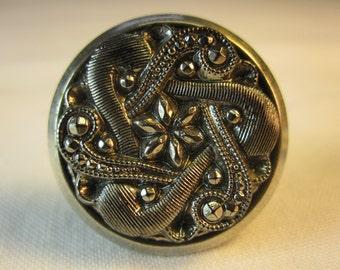 Fancy Black Glass Button Style Cuff Links