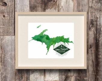 Upper Peninsula Michigan - Watercolor State Map Art Print - Lake Superior - Great Lakes - USA - The Big Lake - Yooper - Michigander