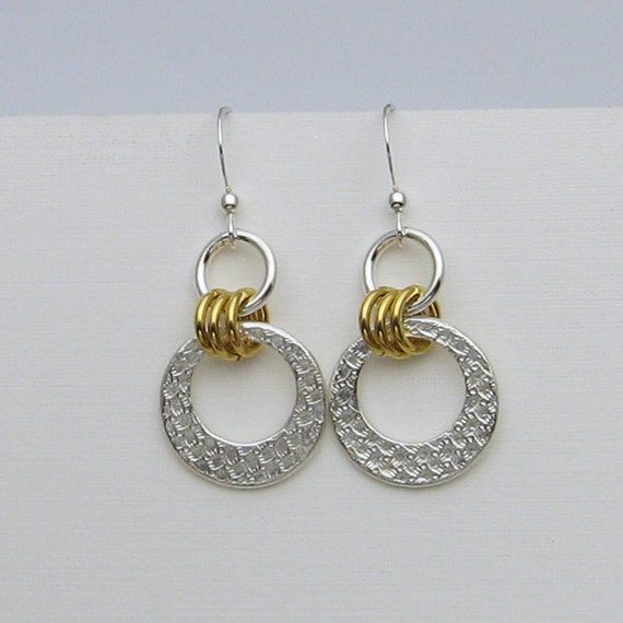 handmade sterling silver and gold earrings mixed metal