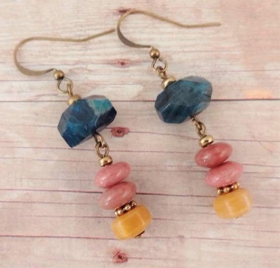 Rustic Boho Earrings with Apatite Nuggets, Rhodonite & Yellow Jasper