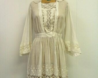 Edwardian 1920s White Dress 1910s 1920s size M