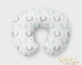 Nursing Pillow Cover - Modern Antlers in Grey, Mint/Aqua and Navy Scattered Triangles   // EXCLUSIVE Grace and Cruz Fabric Design
