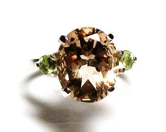 "Quartz ring ,cognac quartz ring, cognac accent ring,  3 stone ring, tan green, anniversary ring s 5 1/2  ""Tumbleweed"""