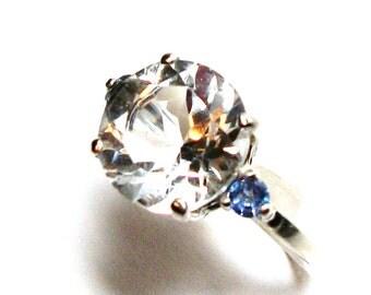 "Quartz accent ring, quartz tanzanite ring , 3 stone ring, blue white, anniversary, s 6 1/2  ""Snowflake"""