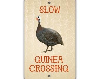 Slow Guinea Crossing Indoor/Outdoor Aluminum No Rust No Fade Sign