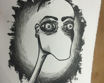 Wide Eyed lithograph print