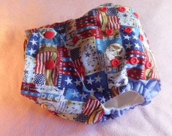 SassyCloth one size pocket diaper with patriotic patch cotton print. Ready to ship.