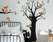 Adorable Animal Friends with Tree - Nursery Wall Sticker Decal