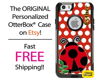 iPhone OtterBox Commuter Case for iPhone 7, 7 Plus, 6/6s, 6 Plus/6s Plus, 5/5s/SE, 5c Galaxy S7 S6 S5 Note 5 Personalize Lady Bug Polka Case