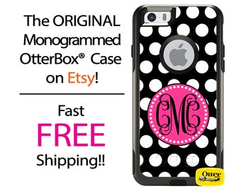 iPhone OtterBox Commuter Case for iPhone 7, 7 Plus, 6/6s, 6 Plus/6s Plus, 5/5s/SE, 5c Galaxy S7 S6 S5 Note 5 Monogrammed Polka Phone Case
