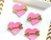 Wool Felt hearts - heart with gold glitter arrow - hot pink heart and arrow - gold glitter fabric - valentines heart - shocking pink