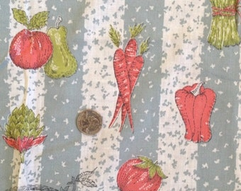 "Vintage Cotton Vegetable Fabric Curtains 4 Panels 32"" x 40"""