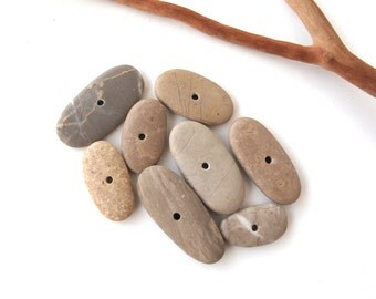 Center Drilled Stones Pebbles Beach Stone Beads Mediterranean Natural Stone Spacers Diy Jewelry Making Pairs EARTHY MIX 19-28 mm
