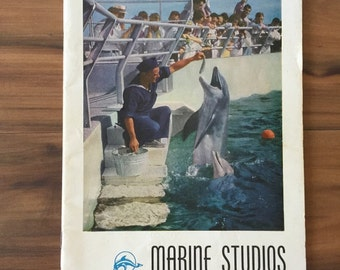 Marine Studios Marineland, 1940's Florida Sea Life, Dolphins, Aquatic Guide Pamphlet Brochure Booklet, FL Travel, Tourism, Sightseeing