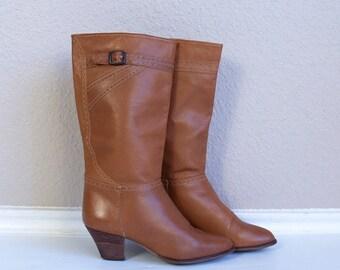 vtg 70s NUTMEG brown BUCKLE BOOTS heels 6.5 tall leather boho cowboy western