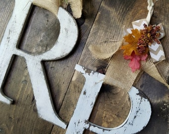 Fall and Winter Large letter Monogram Door Hanger Fall Holiday decor Wreath