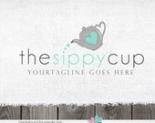 tea pot logo - premade logo - tea logo - tea cup logo  - premade logo design - logos for bakers - cake shop hand drawn
