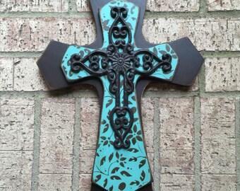Wood Wall Cross Large Turquoise Wall Cross