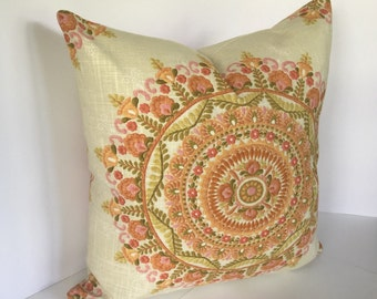 Decorative Pillow Cover in Richloom Margarita  and Coordinating Cadogan Blend Persian Fabric