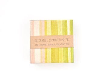 Watercolor Stripes Coasters Sorbet Colorful Pastel Abstract Ceramic Coasters Beverage Coasters Housewarming Gift