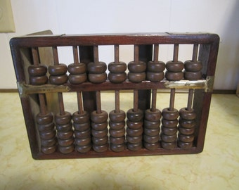 Vintage Abacus Wood and Brass Standing