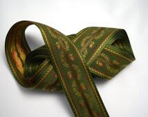 Mokuba Ribbon, Wide Dark Green Floral Brocade, Olive Brocade Ribbon, Dark Green Ribbon, Green and Gold Ribbon, Green Mokuba, Millinery Trim