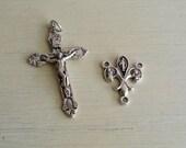 Silver Rosary Crucifix with Fleur-De-Lis Center - 1 set