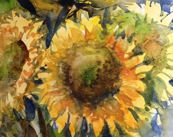 Sunflower and Finches