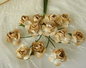Paper Flowers / TINY Paper Roses / Tan Rustic Wedding  / Scrapbook / Bridal / Millinery Supplies / Miniature Roses / 2 dozen