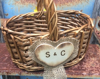 Sunflower Girl Basket  Personalized With Custom Wooden Burlap Heart Rustic Woodland Outdoor Country Chic Wedding
