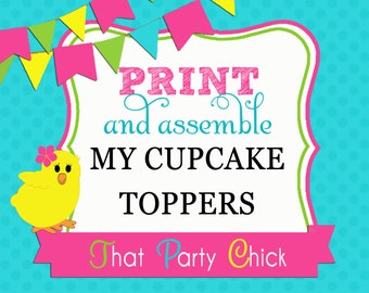 Print and Assemble 12 Cupcake Toppers Add On by That Party Chick