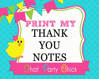 Thank You Note Printing Add On by That Party Chick - FREE SHIPPING