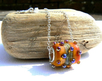 Yellow Sunset Lampwork and Sterling Silver Pendant on a Sterling Silver Chain,OOAK