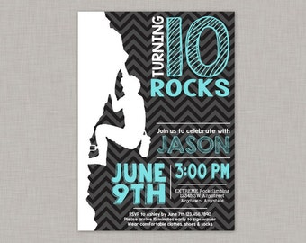 Rock Climbing Invitation, Rock Climbing Birthday Invitation, Rock Climbing Party