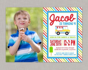 Ice Cream Invitation, Ice Cream Birthday, Ice Cream Party, Ice Cream Truck, Boy