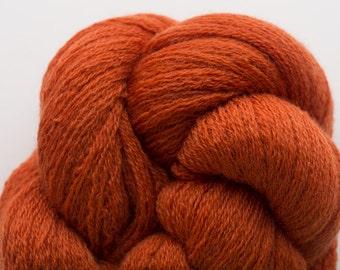 Tawny Orange Recycled Merino Lace Weight Yarn Persimmon, MER00196