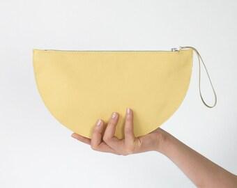 SALE 30% Wristlet Clutch, Round Clutch Lemon, Bridal Clutch, Bridal Bag, Leather Clutch, Evening Bag, Leather Purse