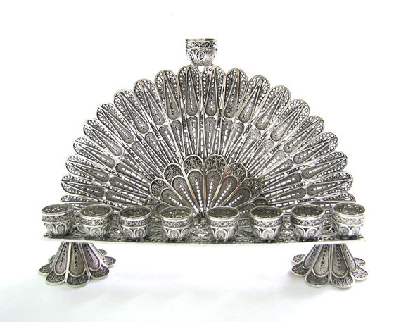 Hanukkah Menorah 925 Sterling Silver Filigree Collectors Item, Artisan Judaicaת Wedding Gift - Free Express Shipping ID908