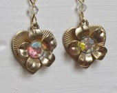 Happy Heart earrings- repurposed, upcycled vintage , gold plated french ear wires, one of a kind