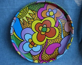 Vintage Flower Power Mod Funky Metal Tray 1960's Peter Max Style