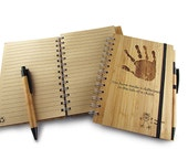 Custom Engraved Bamboo Notebook with Pen - Personalized Natural Wood Notebook- Graduation Gift - Corporate Logo Engraved Gift