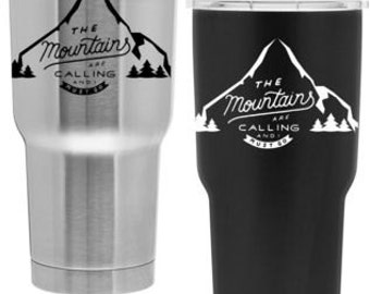 Mountains are Calling 30oz Copper Insulated Tumbler - Custom Engraved Sports Bottle - Outdoors Water Bottle - Athlete Gift