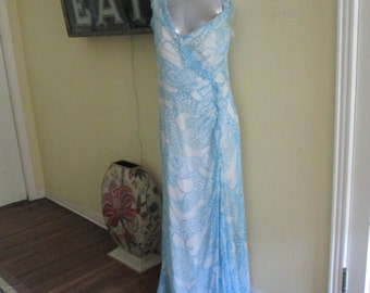 Antique Turquoise and White Gown Sleeveless Large Size / 1960s Romantic Gown