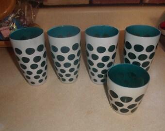 5 vintage anchor hocking tumblers glasses turquoise white polka dot